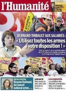 Bernard Thibault dans l'Huma dans - ECONOMIE une1-212x300